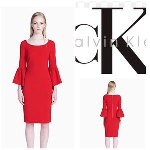 🌺Calvin Klein Red Sheath Dress & 3/4 bell sleeve.